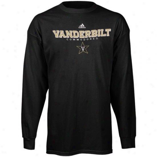 Vahderbilt Commodores Shirts : Adidas Vanderbilt Commodores Black True Basic Long Sleeve Shirts