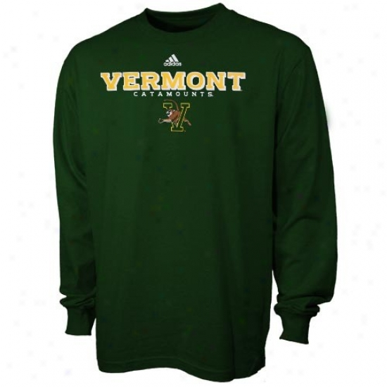 Vermont Catamounts Apparel: Adidas Vermont Catamounts Green True Basic Long Sleeve T-shirt