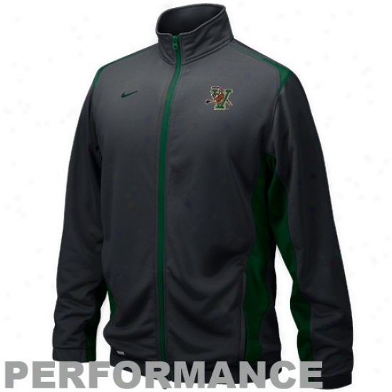 Vermont Catamounts Jacket : Nike Vermont Catamounts Black 2010 Playere Wqrm-up Training Performance Full Zip Jacket