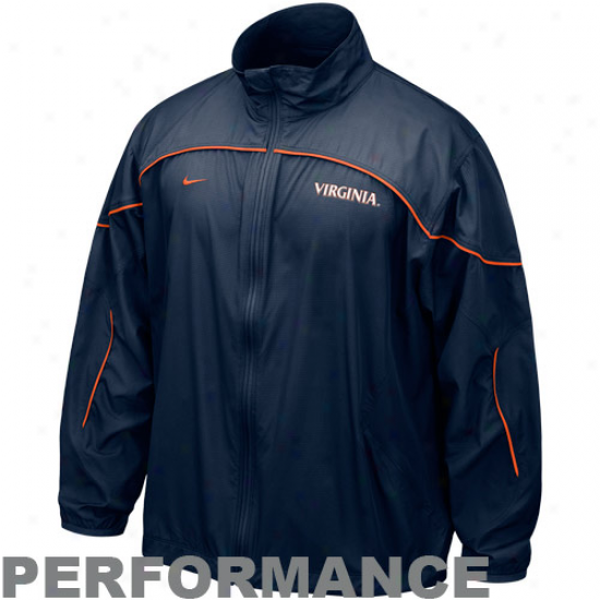 Virginia Cavaliers Jacket : Nike Virginia Cavaliers Navy Blue Doyble Coverage Quarter Zip Performance Jacket