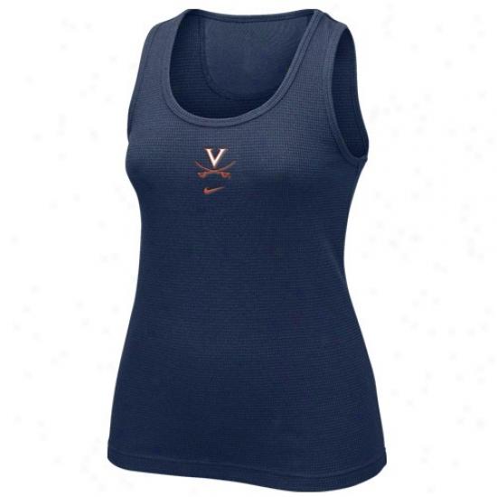 Virginia Cavaliers Shirt : Nike Virginka Cavaliers Navy Blue Waffle Tank Top