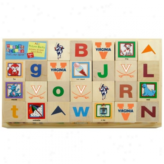 Virginia Cavaliers Woodenn Mascot Alphabet Block
