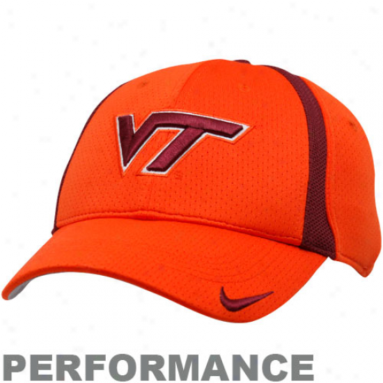 Virginia Polytechnic Institute Hats : Nike Virginia Polytechnic Institute Orange-maroon Legacy91 Conference Performance Swoosh Flex Fit Hats