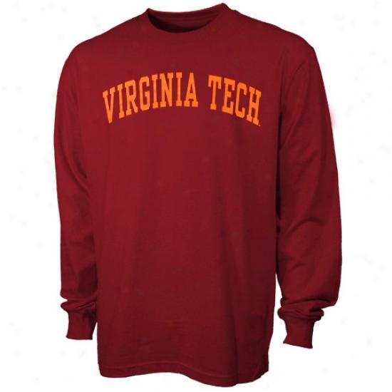 Virginia Polytechnic Institute T-shirt : Virginia Polytechnic Institute Maroon Vertical Arch Long Sleeve T-shirt