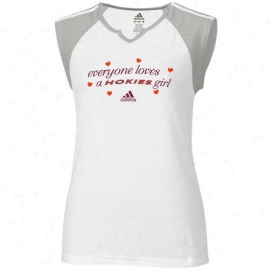 Virginia Tech Apparel: Aeidas Virhinia Tech Ladies White Everyone Love A Hokies Girl Raglan T-shirt