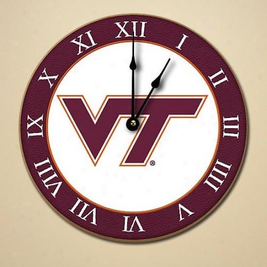 Virginia Tech Hokies 12'' Wooden Wall Clock