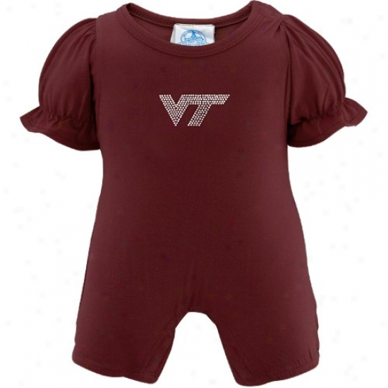 Virginia Tech Hokies Infant Girls Maroon Rhinestone Romper
