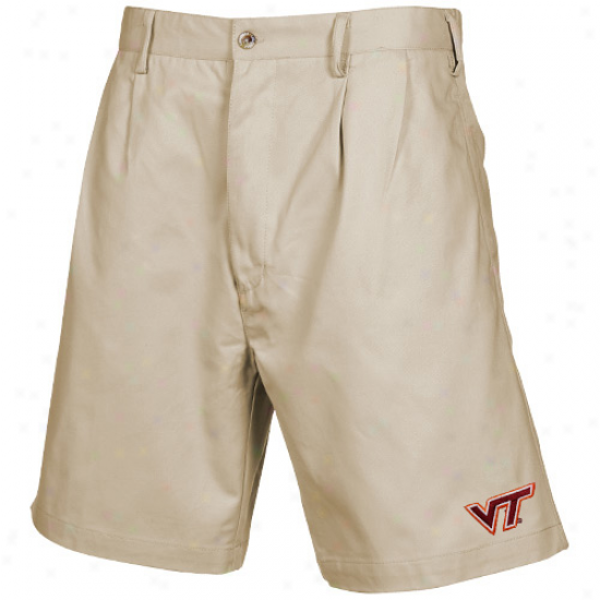 Virginia Tech Hokies Khaki Pleated Shorts