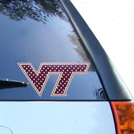 Virginia Tech Hokies Maroon 8'' Polka Dot Car Decal