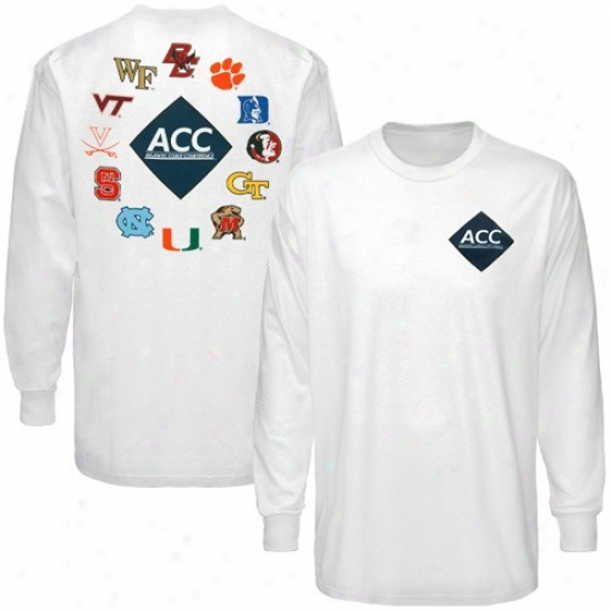 Wake Forest Demon Deacons Attire: Acc Whote Confrrence Diamond Logn Sleeve T-shirt