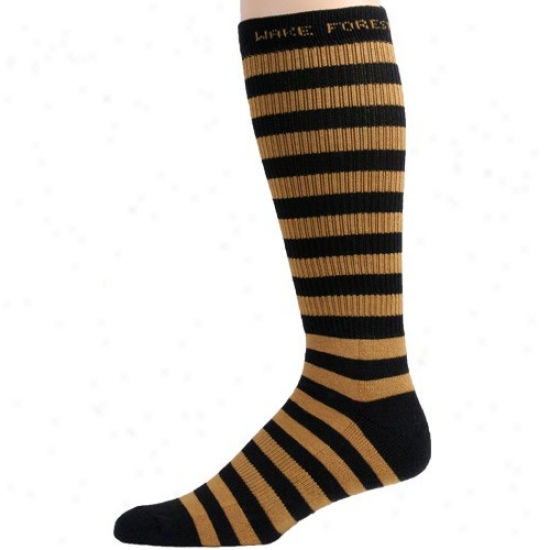 Wake Forest Demon Deacons Black-gold Striped Tall Socks