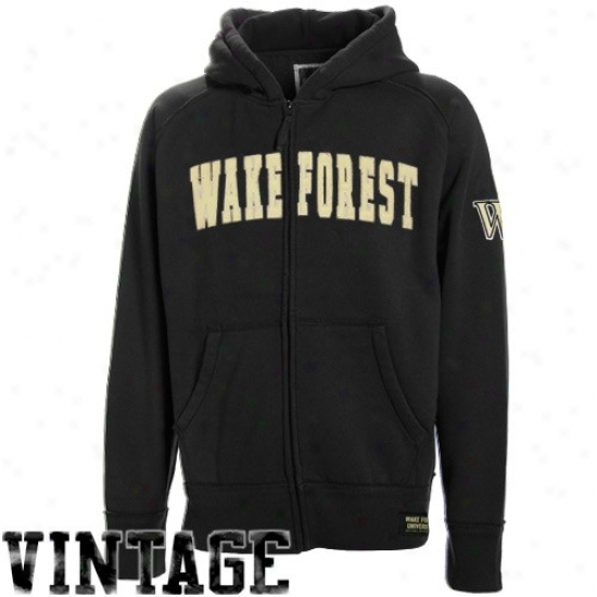 Wake Forest Demon Deacons Fleece : Wake Forest Demon Deacons Youth Black Burn Full Zip Fleece