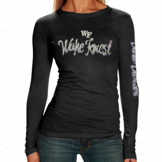 Wake Forest Dmon Deacons Tee : Wake Forest Demon Deacons Ladies Black Tissue Thin Long Sleeve Tee