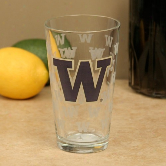 Washington Huskies 16oz. Satin Etch Pint Glass