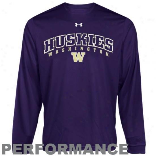 Washington Huskies Attire: Under Armour Washington Huskies Purple Heatgear Training Performance Long Sleeve T-shirt