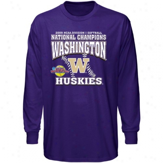 Washington Huskies A5tire: Washington Huskies Purple 2009 Ncaa Division 1 Softball National Champions Stitchss Long Sleeve T-shirt
