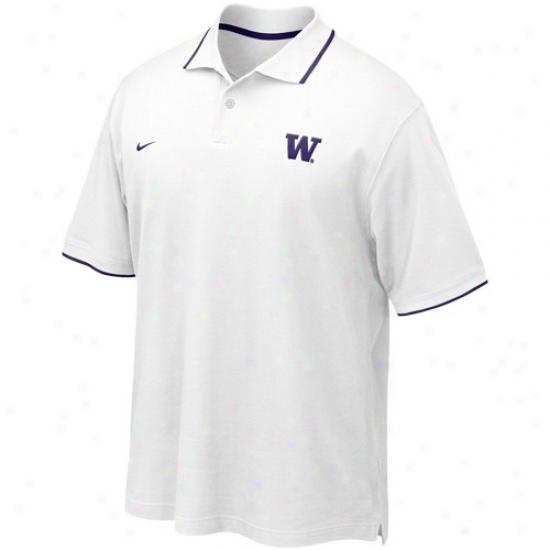 Washington Huskies Clothes: Nike Washington Huskies White Pique Polo