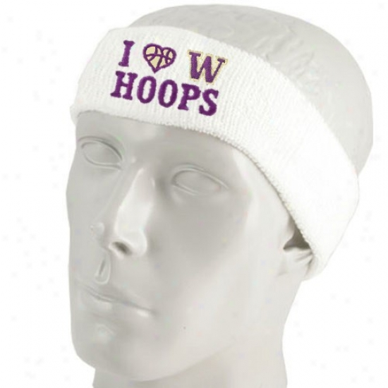 Washington Huskies Hats : Top Of The World Wwshington Huskies White I Love Hoops Sweatband
