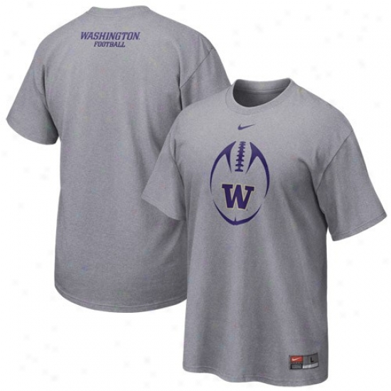 Washington Huskies Shirt : Nike Washington Huskies Ash 2010 Team Issue Shirt