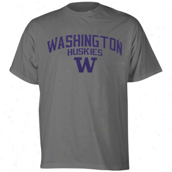 Washingtton Huskies Shirts : Adidas Washington Huskies Charcoal Arch & Logo Pigment Dyed Shirts