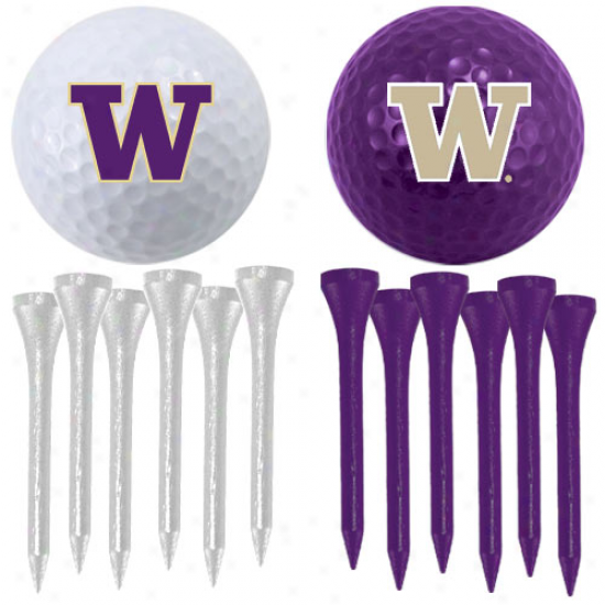 Washington Huskies Two Golf Balls And Twelve Tees Set
