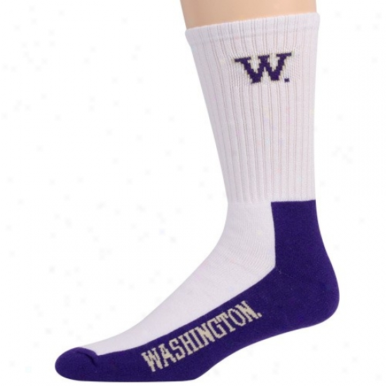 Washington Huskies Yotuh White-purple Team Logo Crew Socks