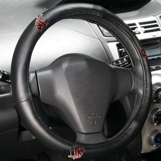 Washington State Cugars Black Letaher Steering Wheel Cover