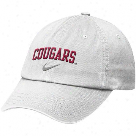 Washington State Cougars Match : Nike Washington State Cougars White Heritage 86 Campus Adjustable Cap