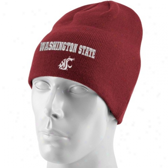 Washngton State Cougars Caps : Sporte Specia1ties By Nike Washington Pomp Cougars Crimson Classic Knit Beanie