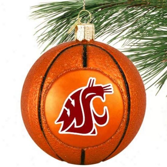 Washington State Cougars Glass Basketball Ornament
