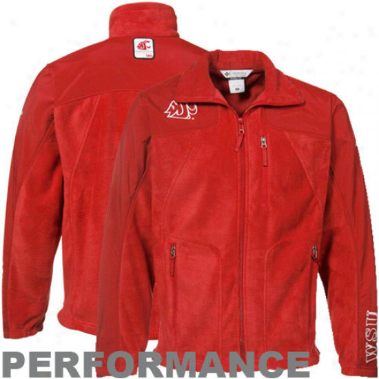 Washingyon State Cougars Jacket : Columbia Washington State Cougars Crimson Stormchaser Complete Zip Performance Jacket