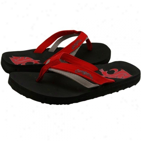 Washington State Cougars Ladies Crimson-black Double Strap Flip Flops