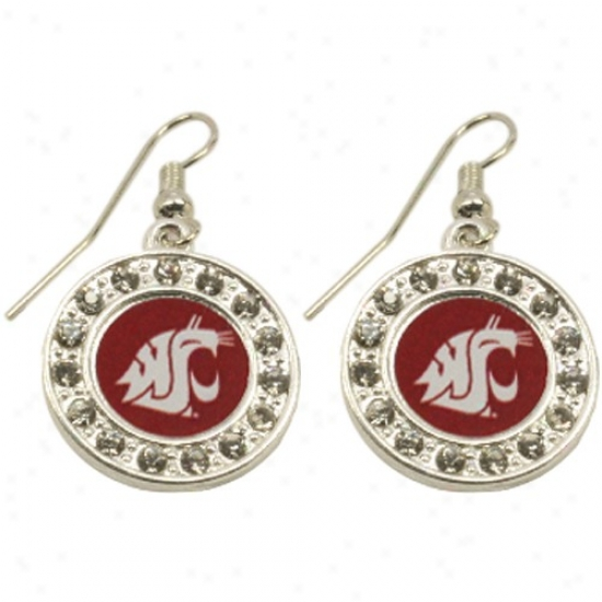 Washington State Cougars Ladies Round Crystal Earrings