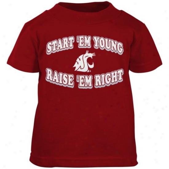Washington State Cougars T Shirt : Washington State Cougars Crimson Babe Start 'em Youthful T Shirt