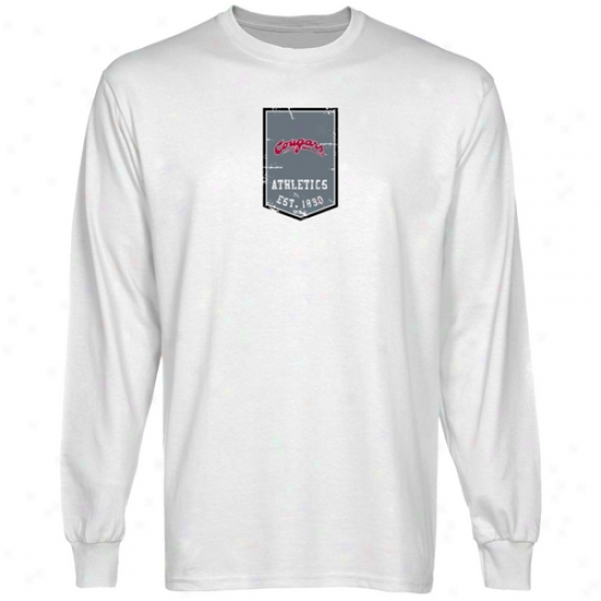 Washington State Cougars Tees : Washington State Cougqrs White Flag Long Sleeve Tees