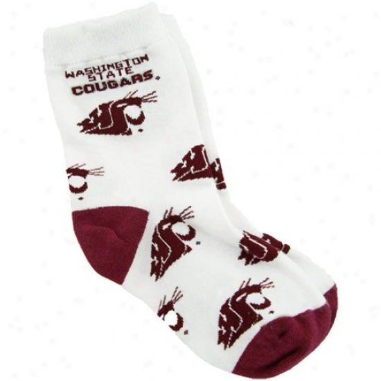 aWshington State Cougars Toddler White All Over Team Logo Socks