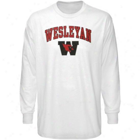 Wesleyan Cardinals T Shirt : Wesleyan Cardinals White Bare Essentials Long Sleeve T Shirt
