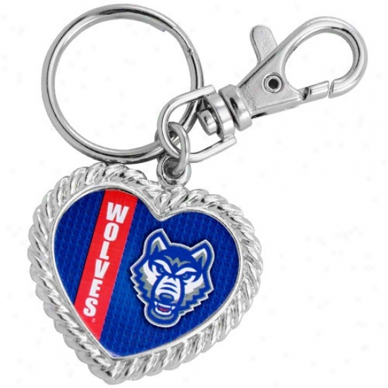 West Georgia Wolves Silvertone Heart Keychain