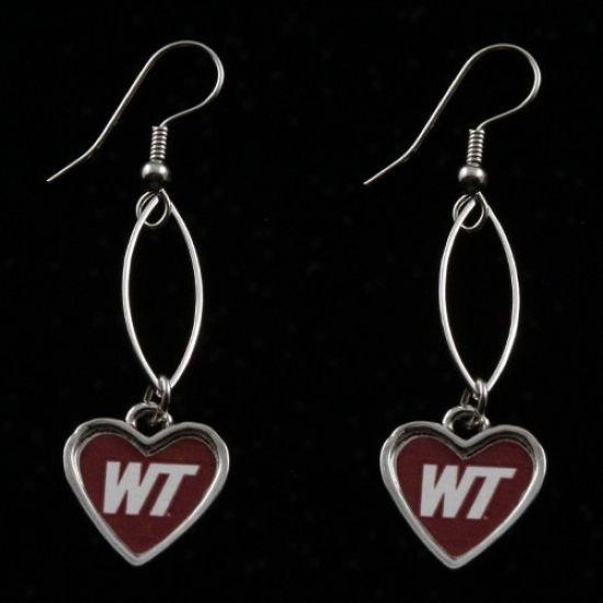 West Texas A&m Buffalo Maron Oval Heart Drop Earrings