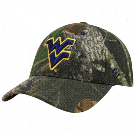 West Virginia Cap : Zephyr West Virginia Camo Mossyy Oak Camp Abounding Draw Z-fit Cap