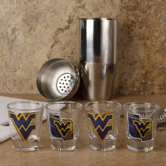 West Virginia Mountaineers 4-pack Enhanced High Definition Design Sh0t Glass Set