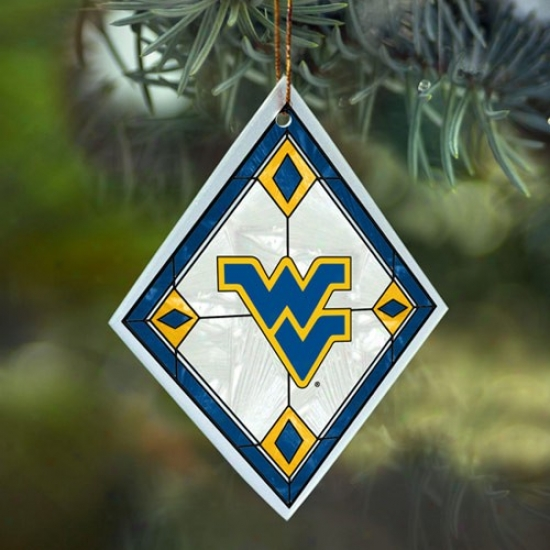 West Virginia Mountaineers Art-glass Ornament