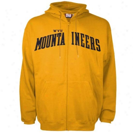 West Virginia Mountaineers Hoodies : Western Virginia Mountaineers Old Gold Big Lettering Applique Full Zip Hoodies Hoodies