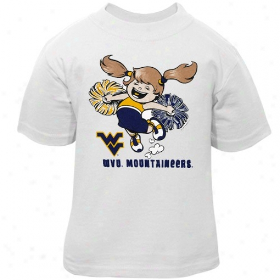 West Virginia Mountaineers Shirt : West Virginia Mountaineers Infant Girls White Little Cheerleader Shirt