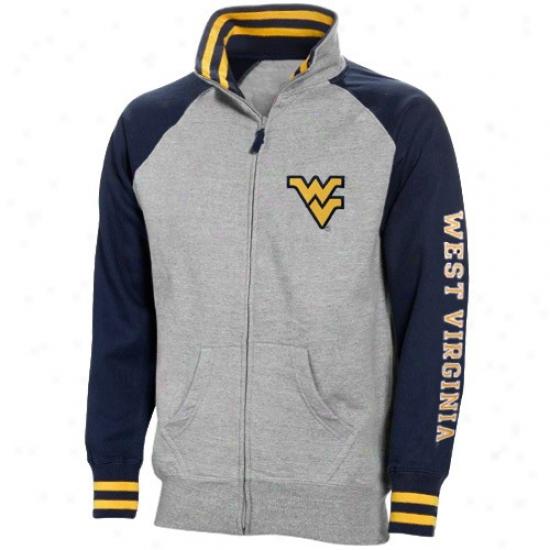 West Virginia Mountaineers Sweat Shirt : West Virginia Mountaineers Ash Game Day Full Zip Sweat Shirt
