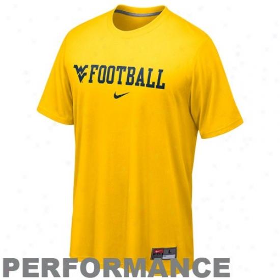 West Virginia University T Shirt : Nike West Virginia University Gold Conference Legend Performance T Shirt