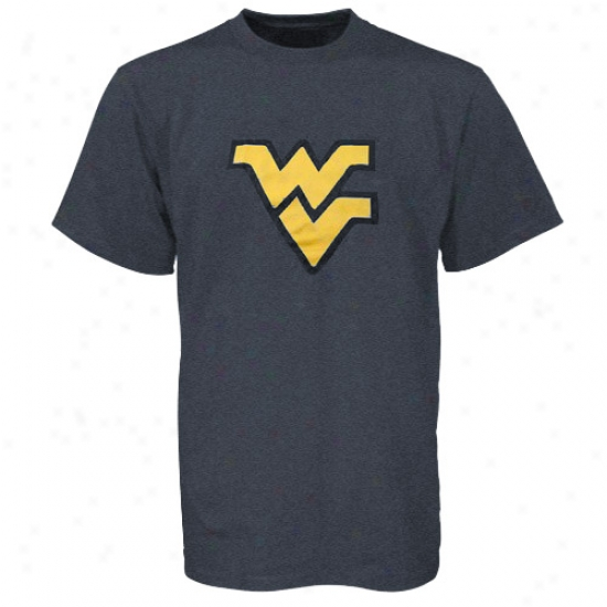 West Virginia University T-shirt : West Virginia University Heather Navy Blue Haughty Logo T-shirt