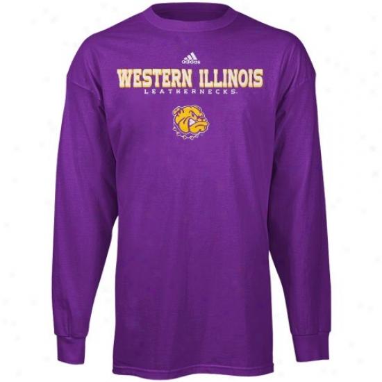Western Illinois Leathernecks Shirts : Adidas Western Illinois Leathernecks Purple True Basic Long Sleeve Shirts