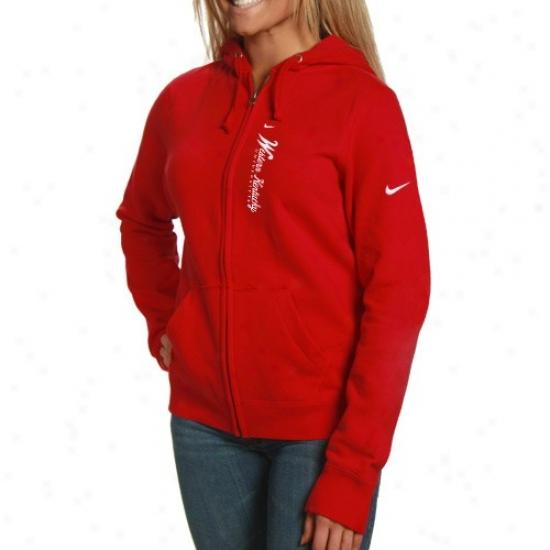 Wetern Kentucky Hilltoppers Hoodies : Nike Western Kentucky Hilltoppers Ladies Red Classic Script Full Zip Hoodies