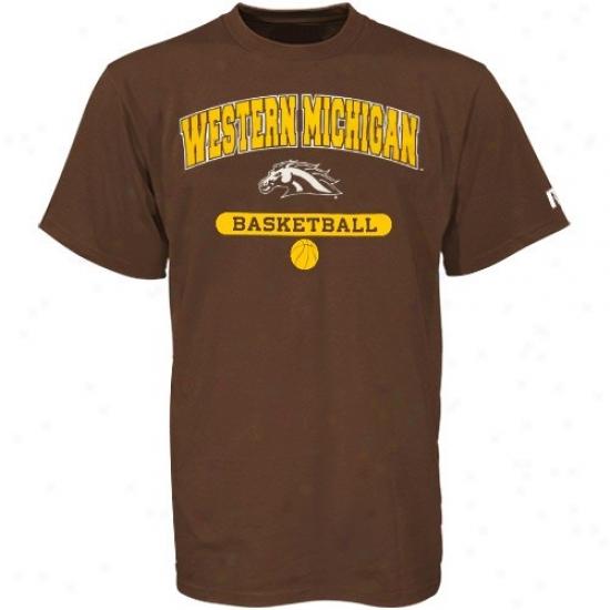 Western Michlgan Broncos Tee : Russell Western Michigan Broncos Brown Basketball Tee